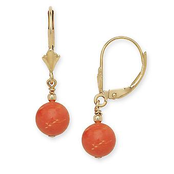 14k Yellow Gold Red 7x7mm Created Coral Ball Drop Leverback Earrings - Measures 27x7mm