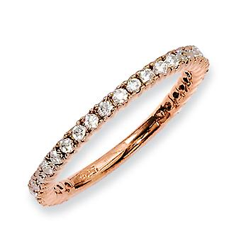 Sterling Silver Polished Prong set Rose Gold-Flashed Pink Plated With Cubic Zirconia Ring - Ring Size: 5 to 9