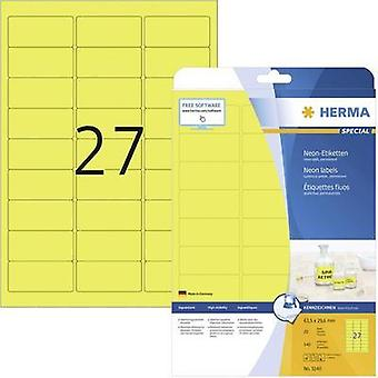 Herma 5140 Labels (A4) 63.5 x 29.6 mm Paper Neon yellow 540 pc(s) Permanent Neon labels, Warning labels Inkjet, Laser, C