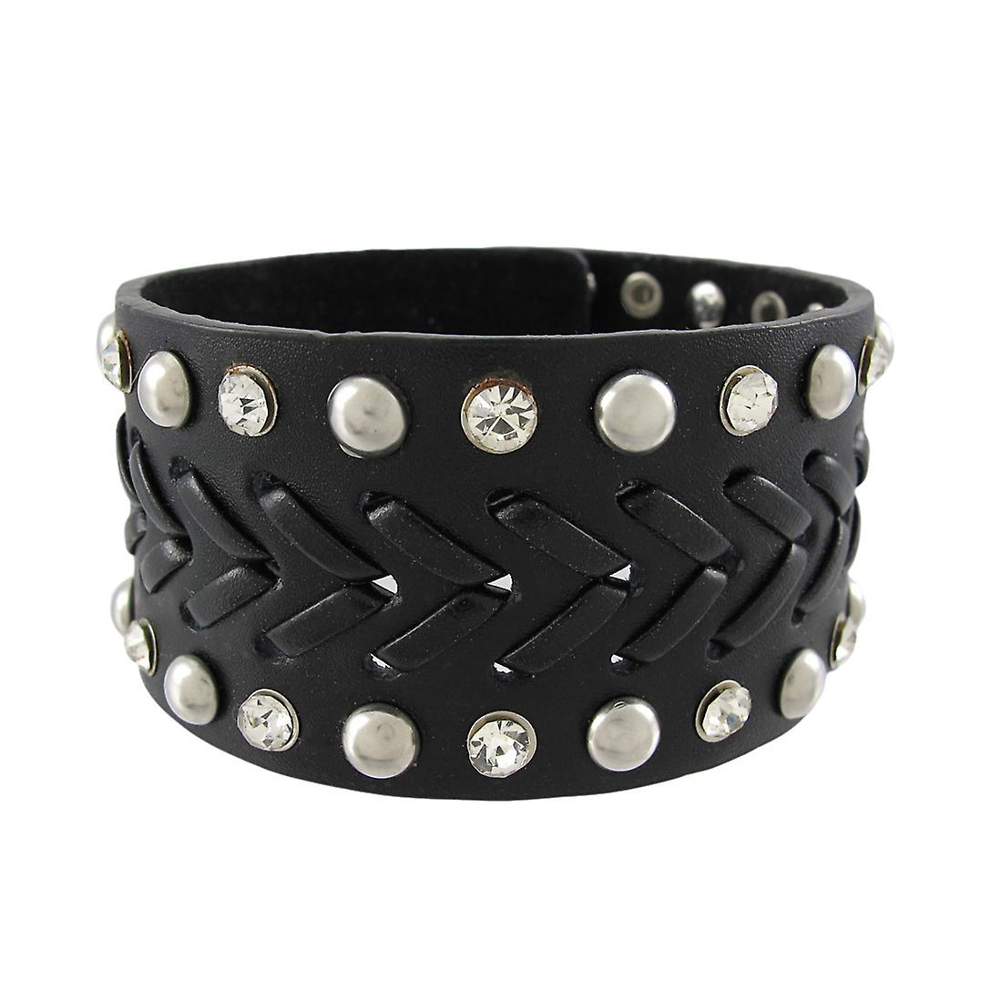 Black Leather Chrome Studded Rhinestone Single Snap Clasp Wristband