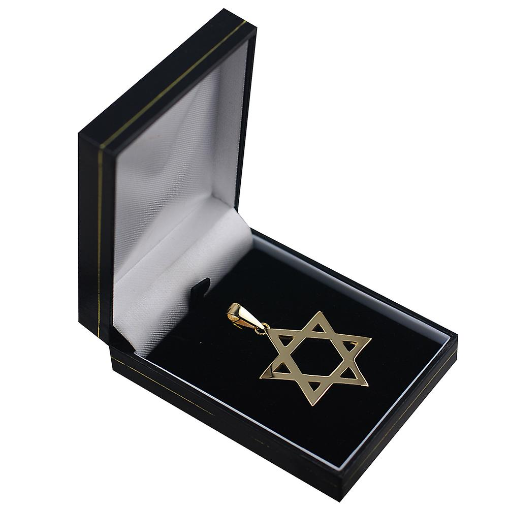 9ct Gold 36x31mm plain Star of David Pendant