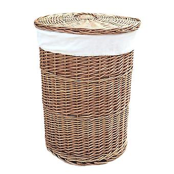 Small Light Steamed Round Laundry Baskets with White Lining