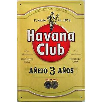 Havana Club Cuban Rum embossed steel sign (yellow)  300mm x 200mm (hi)