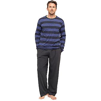Mens Striped Long Sleeve Top & Pants Pyjama Lounge Wear