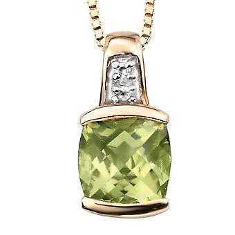 9Ct Gold With P�ridot And Diamond Necklace