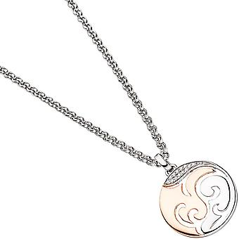 Pendants round sterling silver red gold gold plated pendant bicolor cubic zirconia