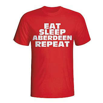 Eat Sleep Aberdeen Repeat T-shirt (red)