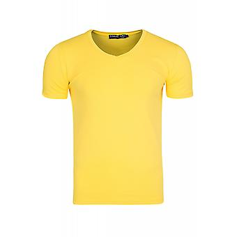 RUSTY NEAL simple chemise T-Shirt homme jaune col v