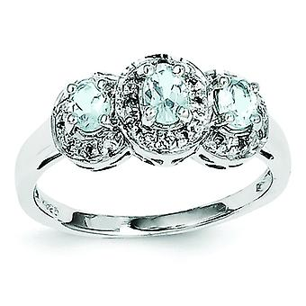 Sterling Silver Polished Rhodium Aqua and Diamond Ring - Ring Size: 6 to 8