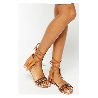 The Fashion Bible Rodeo Camel Aztec Tassel Sandals