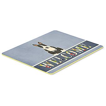 Bull Terrier Black White Welcome Kitchen or Bath Mat 20x30
