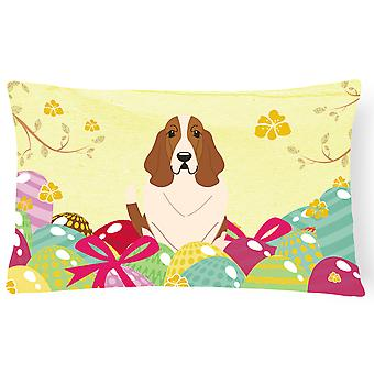 Easter Eggs Basset Hound Canvas Fabric Decorative Pillow