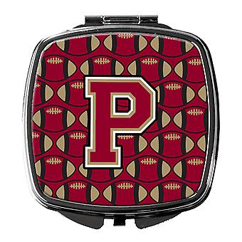 Letter P Football Garnet and Gold Compact Mirror