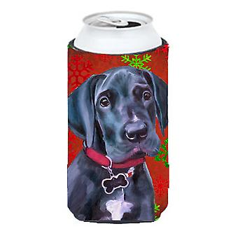 Black Great Dane Puppy Red Snowflakes Holiday Christmas Tall Boy Beverage Insula