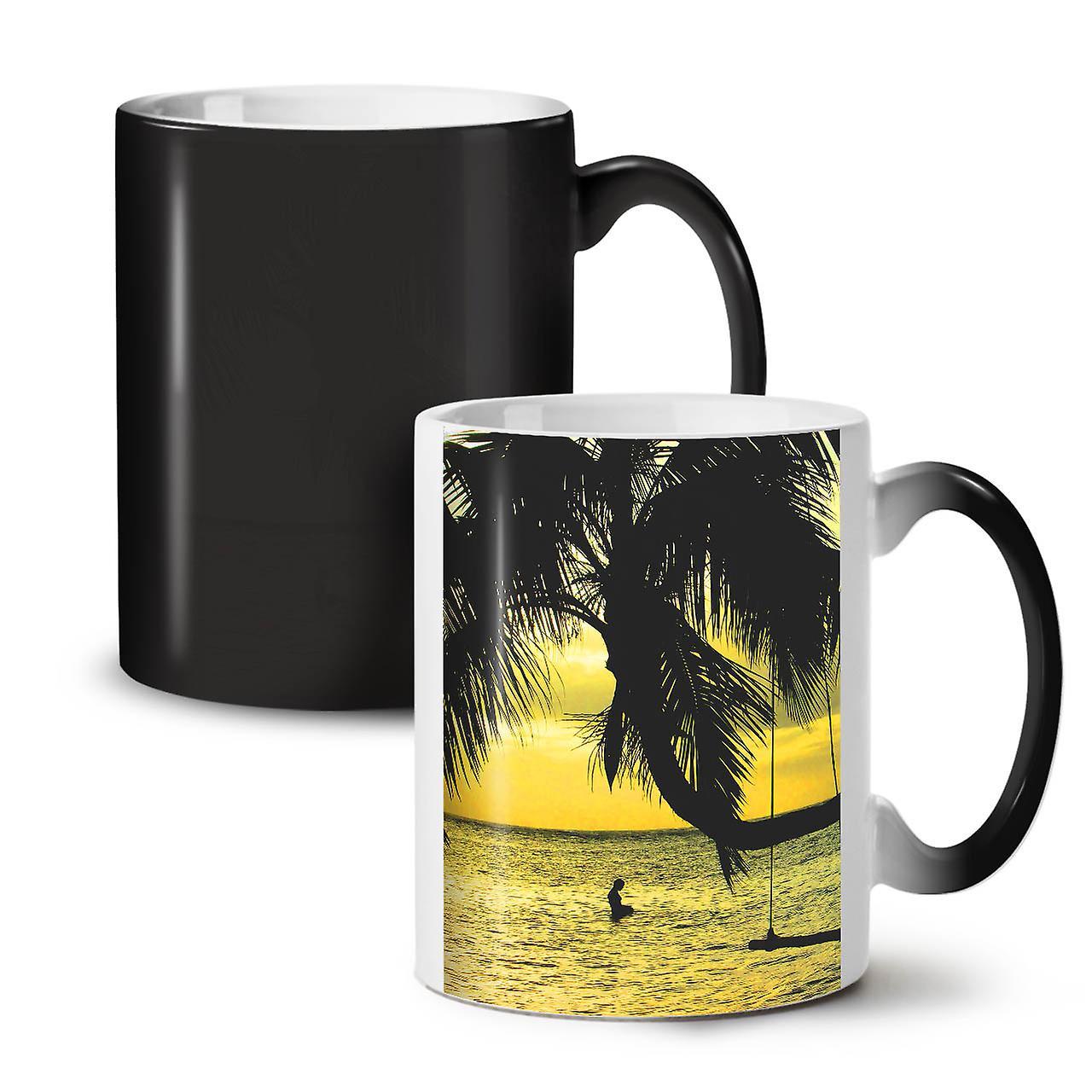 Thé OzWellcoda Tasse Nouvelle Océan Nature Mer Couleur Noir 11 Photo Céramique Changeant Café vm0w8ONn