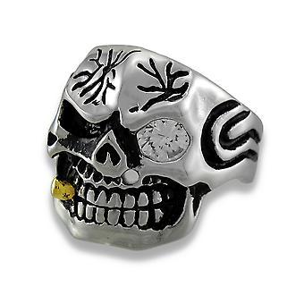 Stainless Steel Tribal Skull Ring w/Cigar and Rhinestone Eye Size 14
