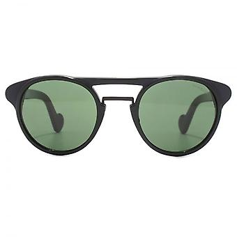 Moncler Double Bridge Round Sunglasses In Shiny Black