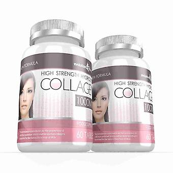 Hidrolizado de colágeno de alta resistencia 1.000 mg para pelo, piel y uñas + vitamina C - 120 comprimidos - piel y salud de las articulaciones - evolución adelgazar