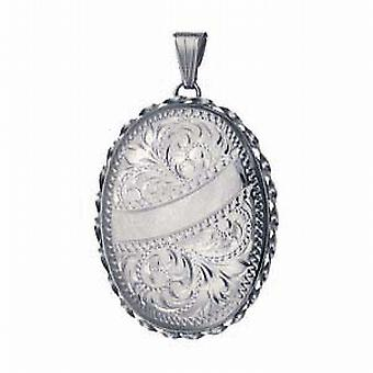 Silver 37x28mm engraved twisted wire edge oval Locket