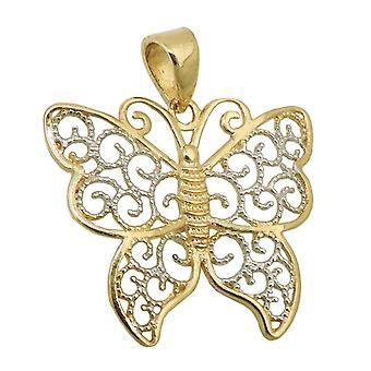 Pendant butterfly two tone 9k gold
