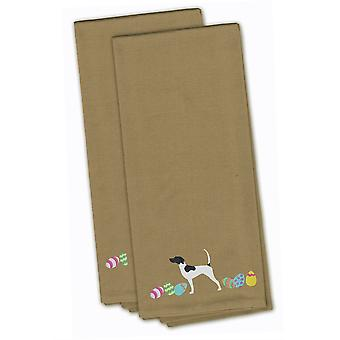 English Pointer Easter Tan Embroidered Kitchen Towel Set of 2