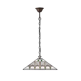 Interiors 1900 Mission Single Light Tiffany Ceiling Pendant With
