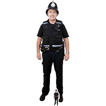 شرطي بريطاني مع انقطاع الكرتون شمعي خوذة/الواقف