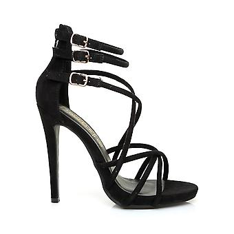 PARTY Black Faux Suede Strappy Stiletto High Heel Peep Toe Sandals