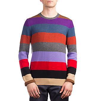 Prada Herren Kaschmir Rundhals gestreiften Pullover Multicolor