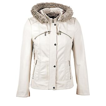 Abbey Hooded Leather Jacket in Off-White