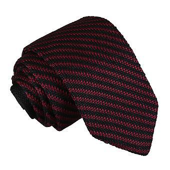 Black and Burgundy Diagonal Stripe Knitted Slim Tie