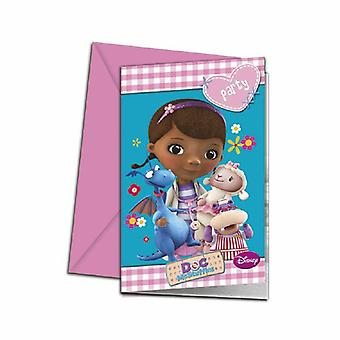Doc McStuffins toy doctor party invitation cards 6 piece children birthday theme party