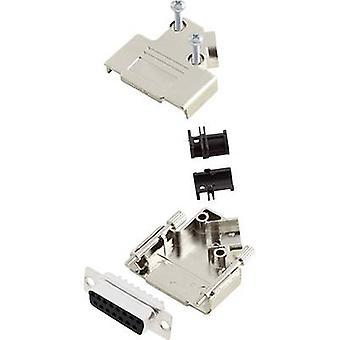encitech D45PK-M-15-DBS-K D-SUB receptacle set 45 ° Number of pins: 15 Solder bucket 1 Set