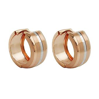 Hoop earrings rose gold red gold bicolor frosted partially rhodium plated 9 KT pink gold