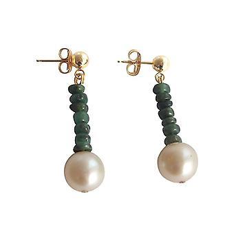 Perlenohrringe Edelsteinohrringe Smaragd und Zuchtperlen Ohrringe vergoldet