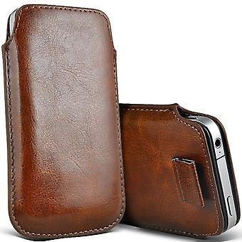 ONX3 (Brown) Premium Slip In Pull Tab Sleeve Faux Leather Pouch Case Cover For Cubot X18 [ XXXL ]