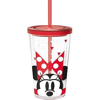 Disney Minnie Glass für Getränke mit einem Strohhalm