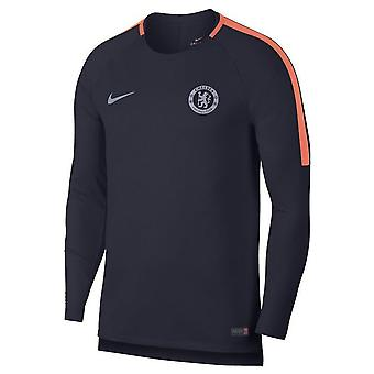 2018-2019 Chelsea Nike tørre LS trup uddannelse skjorte (Obsidian)