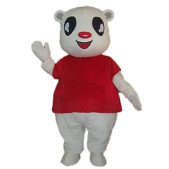 mascot SPOTSOUND white Teddy bear with a red t-shirt