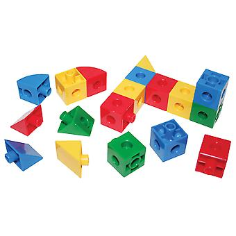 Bigjigs Toys Educational Super Snap Together Cubes, Triangles, Sectors Shapes