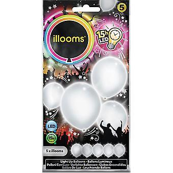 Hvit ballonger med LED lys Illooms 5 PCs