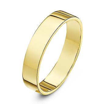 Star anneaux de mariage 18 carats jaune or lourd plat 4mm bague de mariage