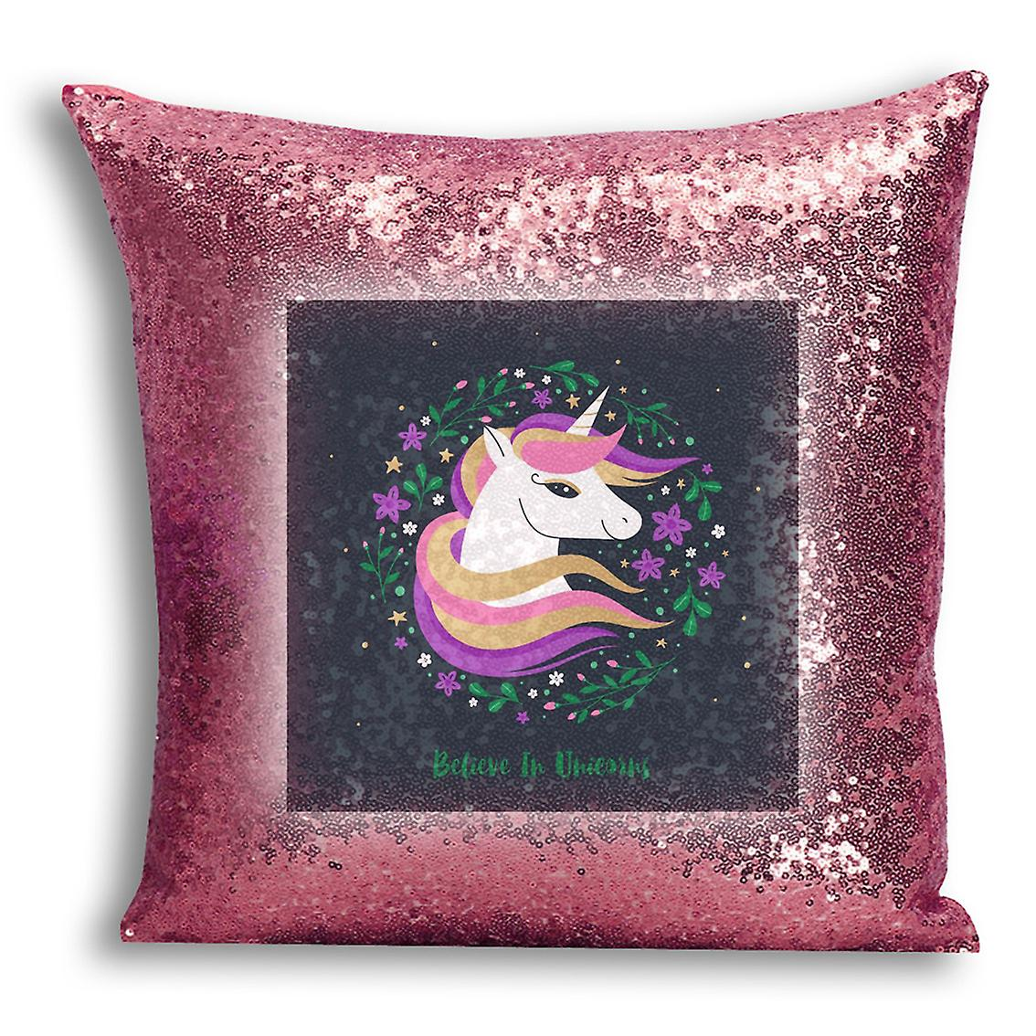 Inserted Printed CushionPillow 10 Decor Design Cover Sequin I tronixsUnicorn Home Gold Rose With For nO80vmNw