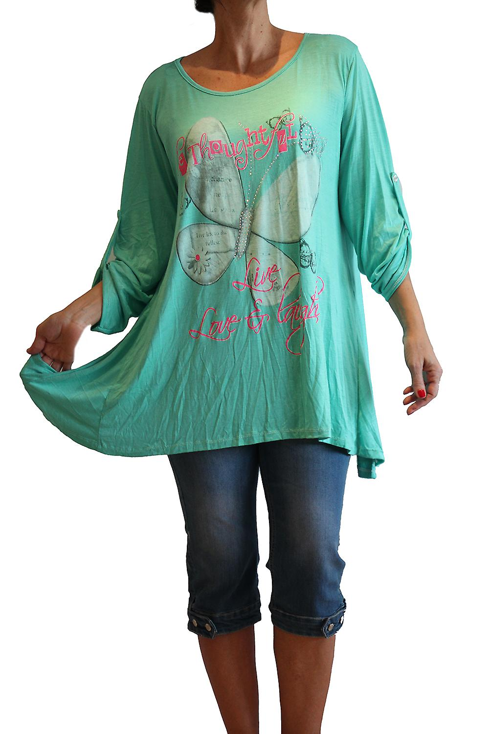 Waooh - Fashion - Butterfly Print Tunic long sleeves and rhinestone