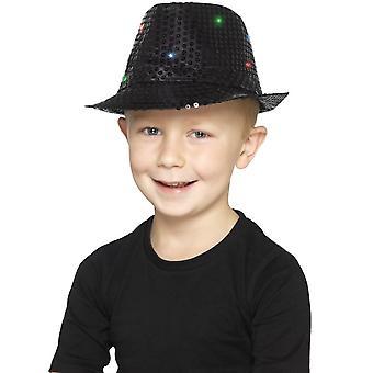 Oplichten Sequin Trilby hoed, zwart, met multifunctionele LED verlichting