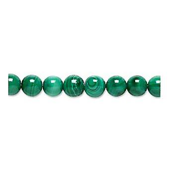Packet 5 x Green Malachite 8mm Plain Round Beads GS1394-4