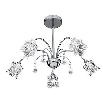 Searchlight 8525-5CC Fabia Chrome And Crystal 5 Light Ceiling Pendant