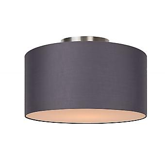 Lucide Coral Modern Round Cotton Grey Flush Ceiling Light