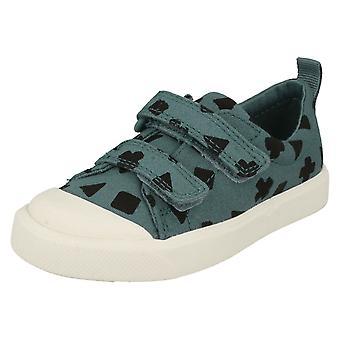 Para crianças meninos meninas Clarks padrão detalhada cidade de sapatos de lona Flare Eis T
