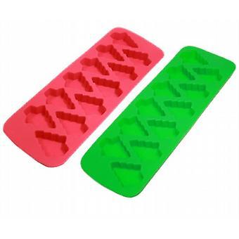 Siliconen chocolade/ijs-kubus/Mini vormige Cake lade 12-afdeling - 2 Trays Per Set